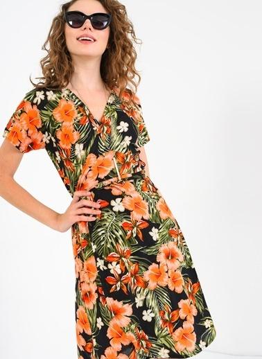 Kruvaze Büyük Çiçekli Bağlamlı Elbise-Ola